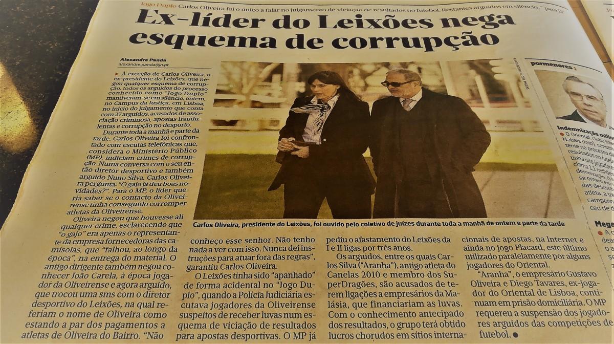 Jogo Duplo: Carlos Oliveira fala de camisolas, MP acredita que o jogo foi manipulado